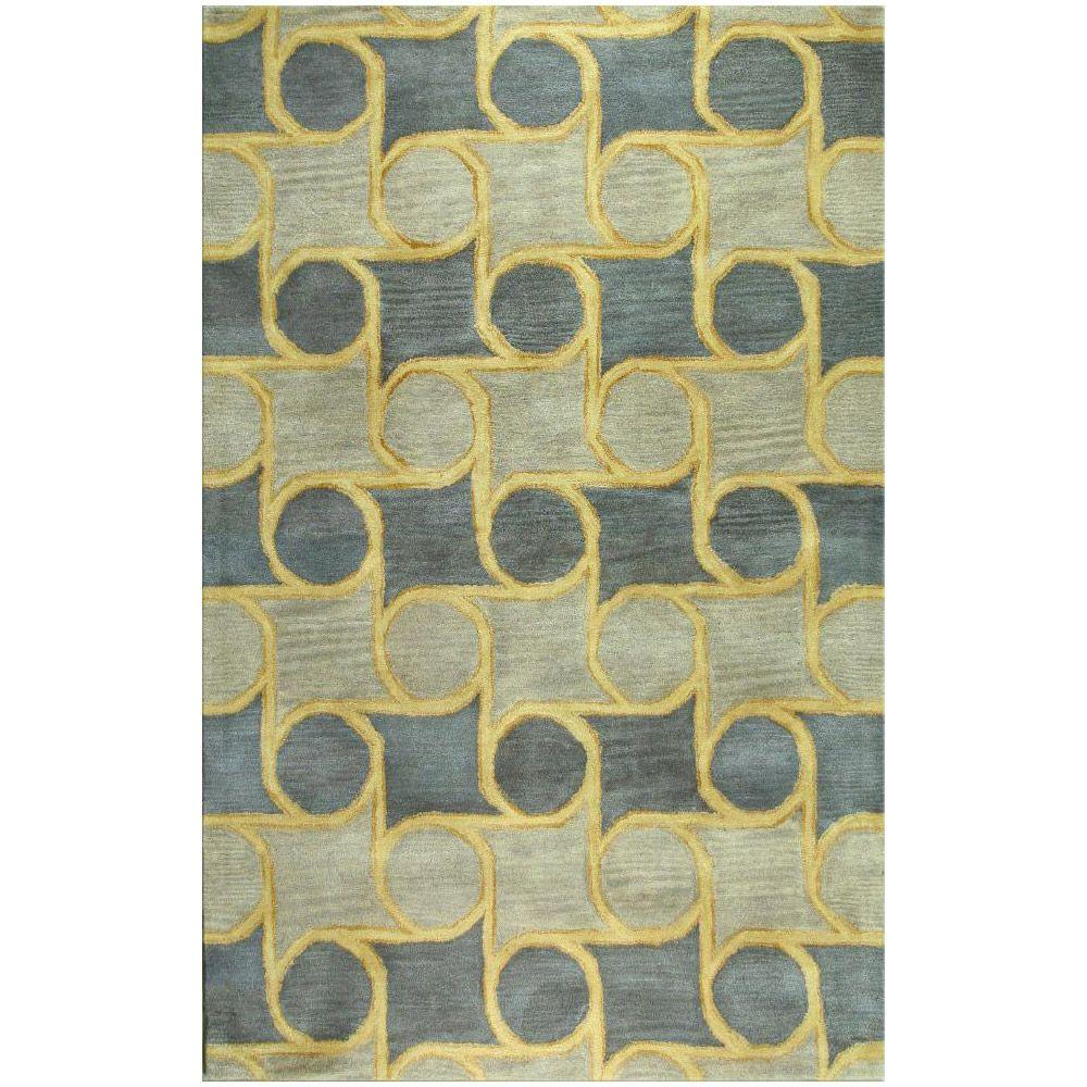 BASHIAN Chelsea Collection Rolls Blue 3 ft. 6 in. x 5 ft. 6 in. Area Rug