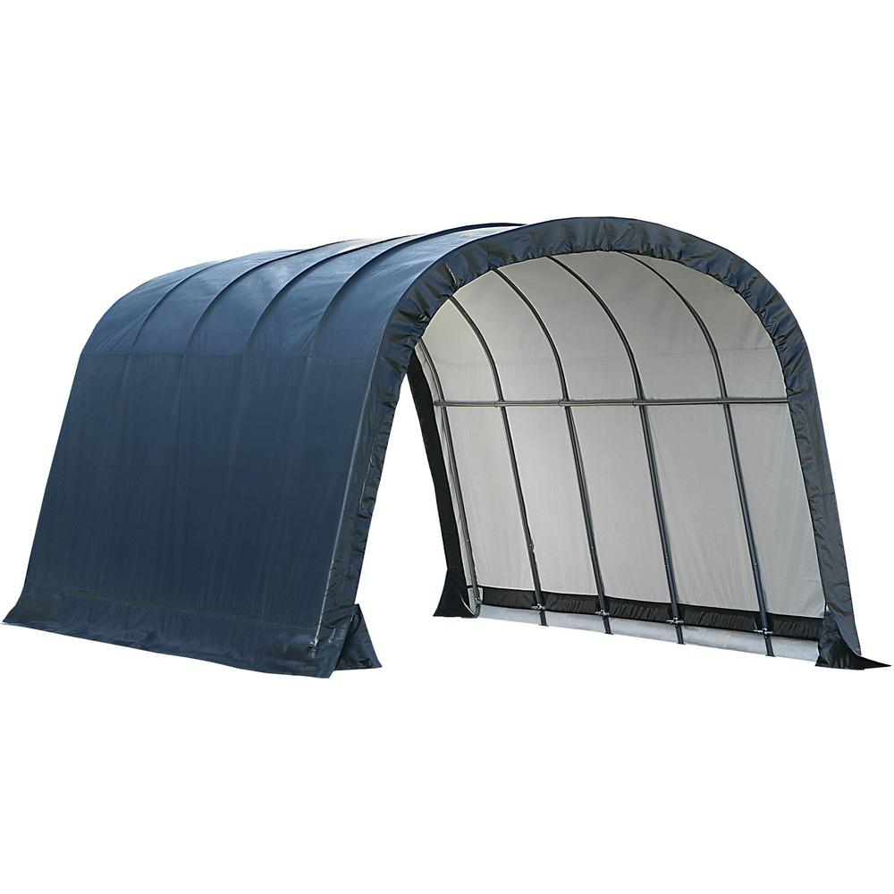 ShelterLogic 12 ft. W x 20 ft. D x 8 ft. H Run-In Peak Style Shed-in-a-Box in Green with Steel Frame and Patented Stabilizers