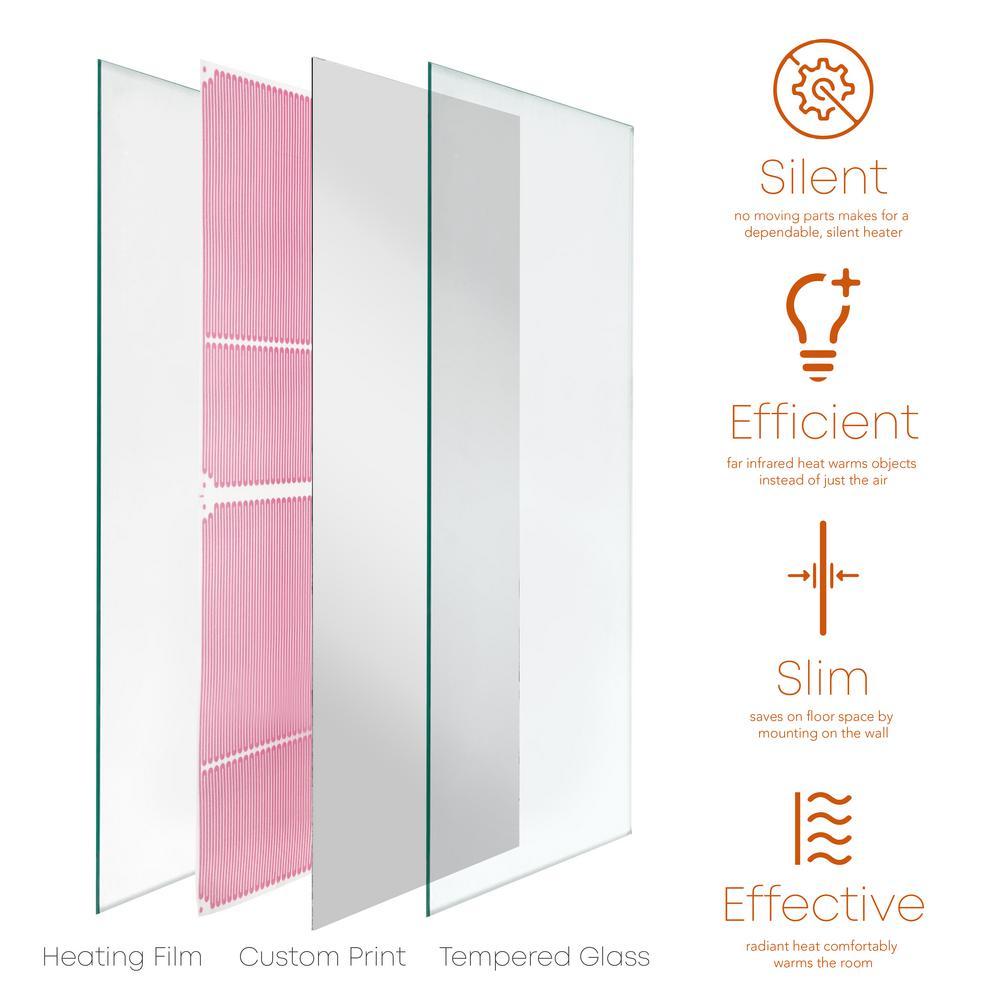 Glass Heater 750-Watt Radiant Wall Hanging Decorative Glass Heat Panel - Mirror