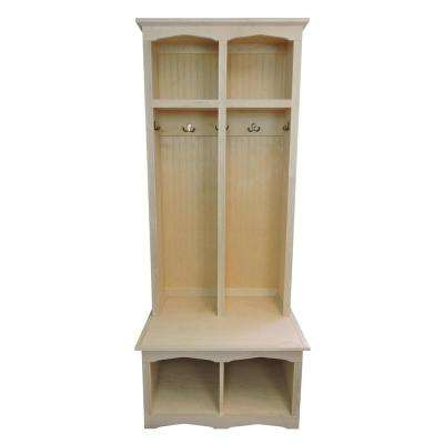 2-Section Sit and Store Unfinished Regal Style Hall Tree