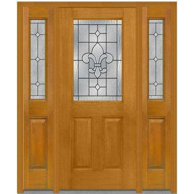 60 in. x 80 in. Carrollton Left-Hand 1/2-Lite Decorative Stained Fiberglass Mahogany Prehung Front Door with Sidelites