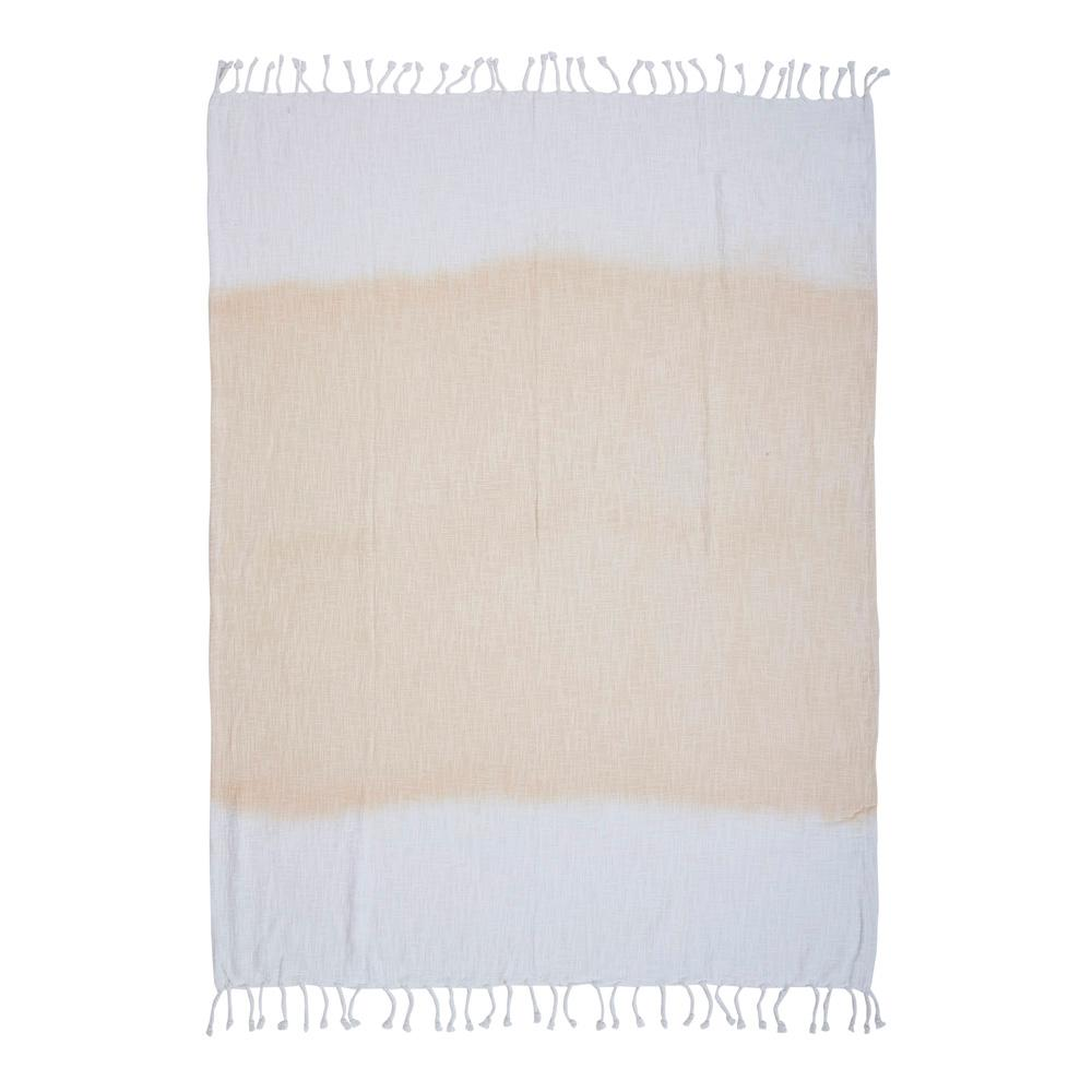Shibori Ombre Slub 50 in. x 60 in. White/Peach Throw Blanket