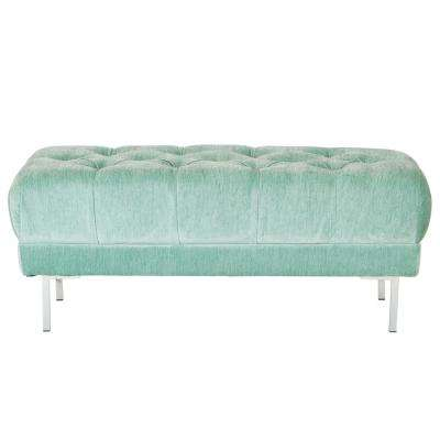 Addie Sea Tufted Bench in Fabric with Chrome Legs