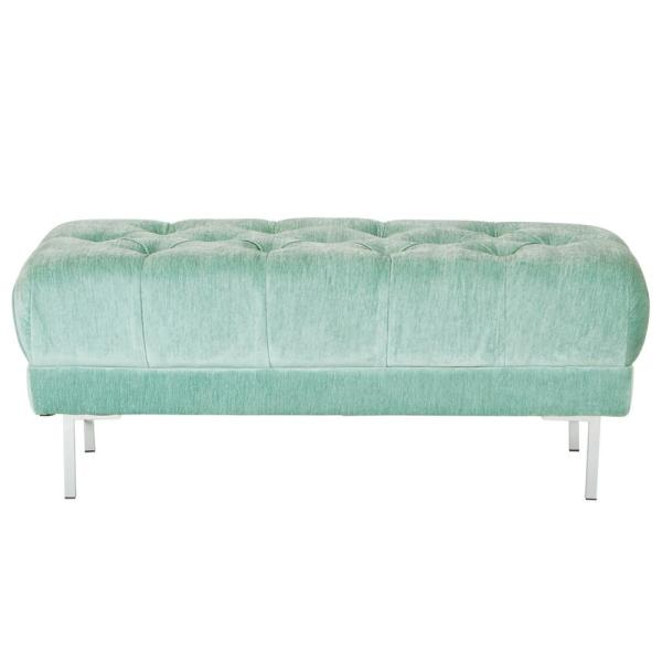 OSP Home Furnishings Addie Sea Tufted Bench in Fabric with Chrome