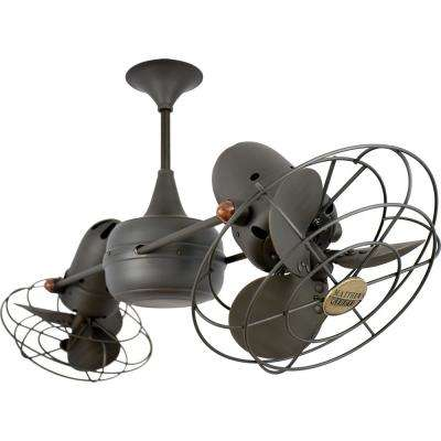 Duplo-Dinamico 39 in. Indoor Bronze Ceiling Fan with Wall Control