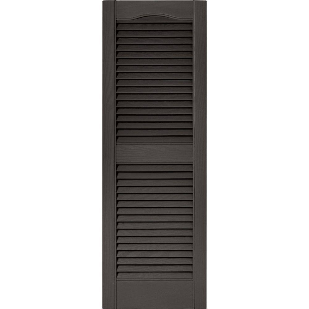Builders Edge 15 in. x 43 in. Louvered Vinyl Exterior Shutters Pair in #018 Tuxedo Grey