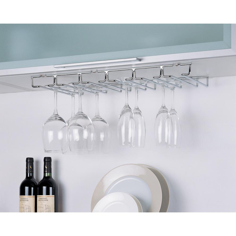 White Under Cabinet Wine Glass Rack