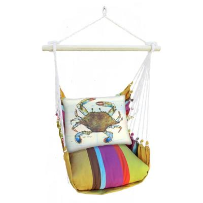 3-Piece Wood Polyester Cushioned Porch Swing with Crab Print Back Pillow