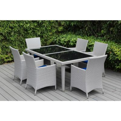 Gray 7-Piece Wicker Patio Dining Set with Sunbrella Pacific Blue Cushions