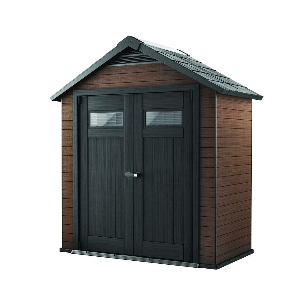 Keter Fusion 7 5 ft  x 4 ft  Wood and Plastic Composite Shed