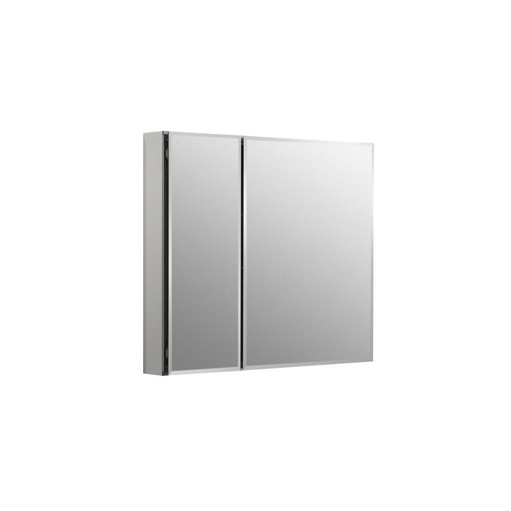 KOHLER 30 in. W x 26 in. H Two-Door Recessed or Surface Mount Medicine Cabinet in Silver Aluminum
