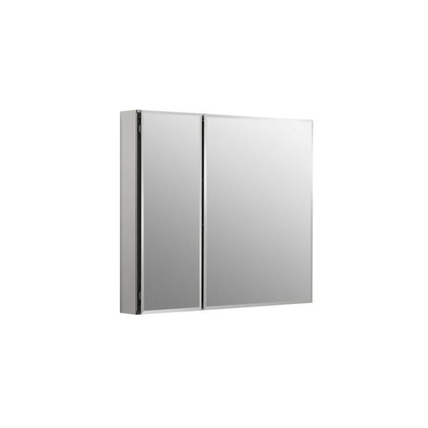 30 in. W x 26 in. H Two-Door Recessed or Surface Mount Medicine Cabinet in Silver Aluminum