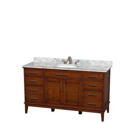 Hatton 60 in. Vanity in Light Chestnut with Marble Vanity Top in Carrara White and Oval Sink