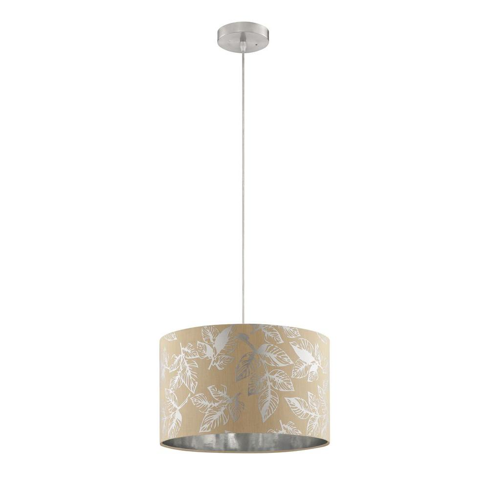 Alsy 1-Light Beige and Silver Foil Drum Pendant with Foil Leaves