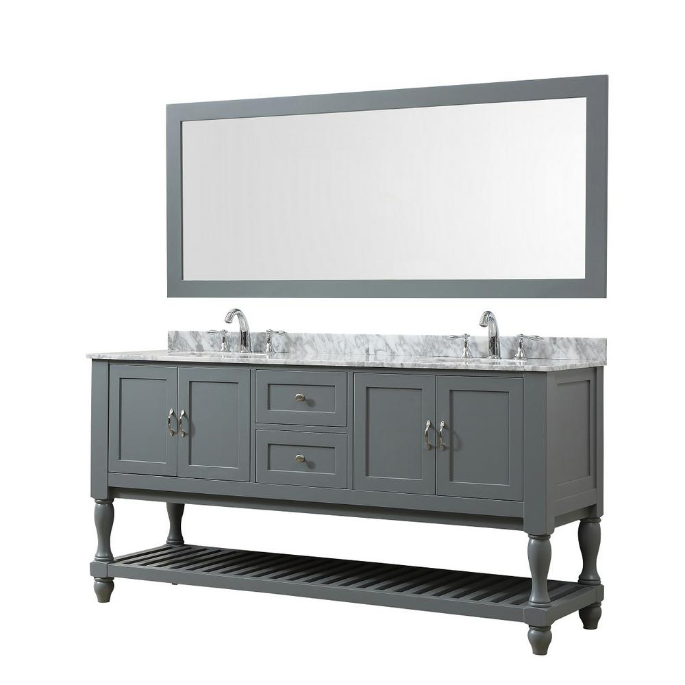 Direct vanity sink Mission Turnleg 70 in. Bath Vanity in Gray with Carrara White Marble Vanity Top with White Basins and 1 Large Mirror