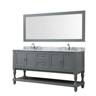 Mission Turnleg 70 in. Bath Vanity in Gray with Carrara White Marble Vanity Top with White Basins and 1 Large Mirror