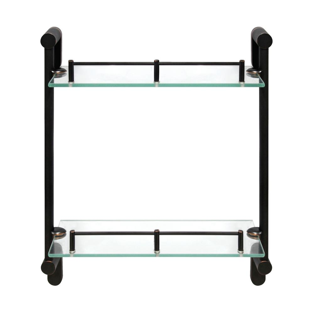 Oval 14.75 in. W Double Glass Wall Shelf with Pre-Installed Rails