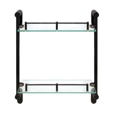 Oval 14.75 in. W Double Glass Wall Shelf with Pre-Installed Rails in Rubbed Bronze