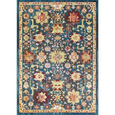 Skyline Charisma Teal/Red 5 ft. x 8 ft. Oriental Area Rug