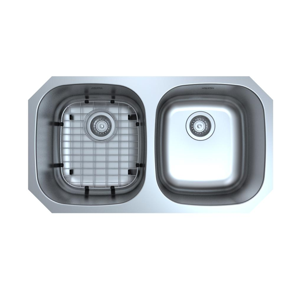 Ancona Capri Series Undermount Stainless Steel 32 in. Double Bowl Kitchen  Sink with Grid and Strainers