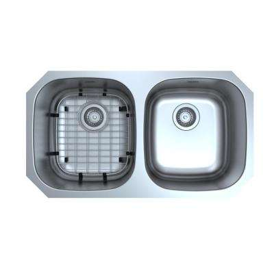 Capri Series Undermount Stainless Steel 32 in. Double Bowl Kitchen Sink with Grid and Strainers