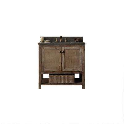 36 in. Vanity in Brown with Moon Stone Top in black  with White Basin