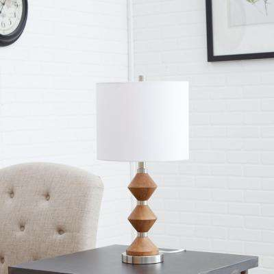 Bianca Stacked Wood and Metal 25 in. Natural and Nickel Table Lamp with Shade