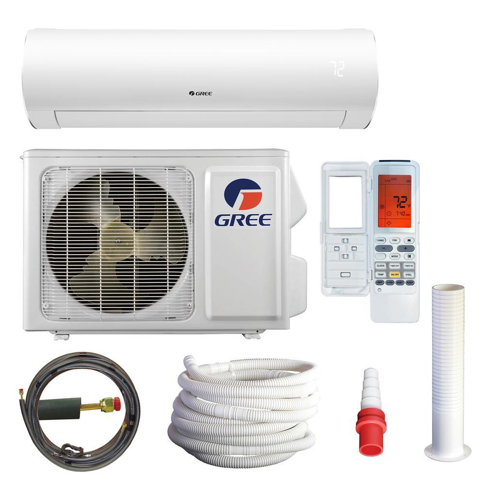 Sapphire 9000 BTU 0.75-Ton Wi-Fi Ductless Mini Split Air Conditioning with Heat Kit - 230-Volt-208-Volt/60Hz