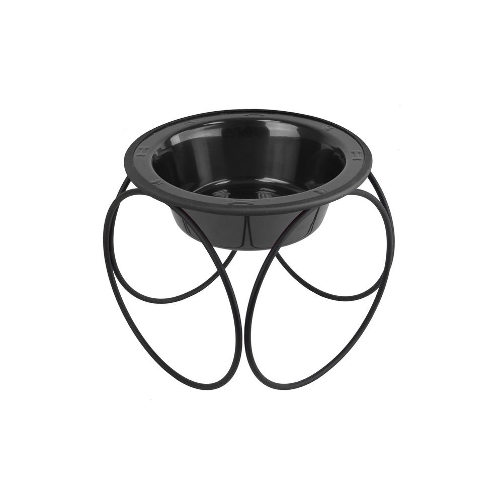 1.25 Cup Olympic Single Diner Feeder with Dog/Cat Bowl, Black Chrome