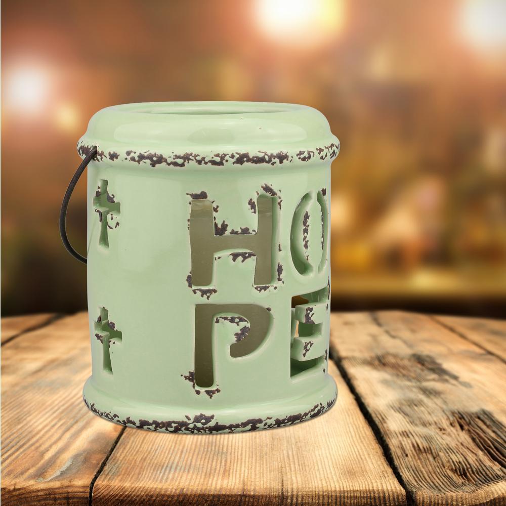 Worn Sage Candle Operated lantern