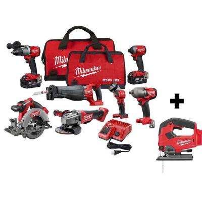 M18 FUEL 18-Volt Lithium-Ion Brushless Cordless Combo Kit (8-Tool) with Two 5.0 Ah Batteries