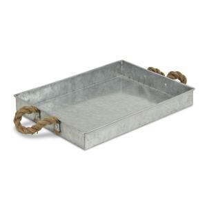 Galvanized Metal Rectangular Tray With Rope Handle