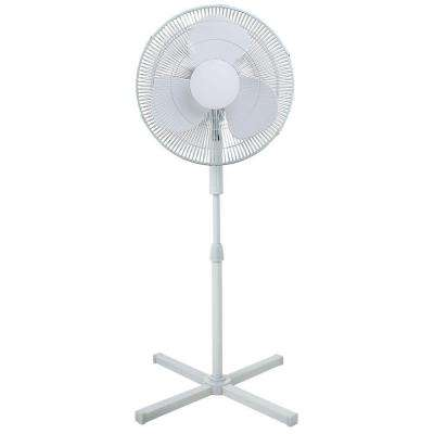 Adjustable-Height 39 in. to 47 in. Oscillating 16 in. Pedestal Fan with 3 Speeds Top Easy Control Cross Stand