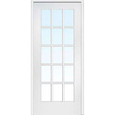 30 in. x 80 in. Left Handed Primed Composite Clear Glass 15 Lite True Divided Single Prehung Interior Door