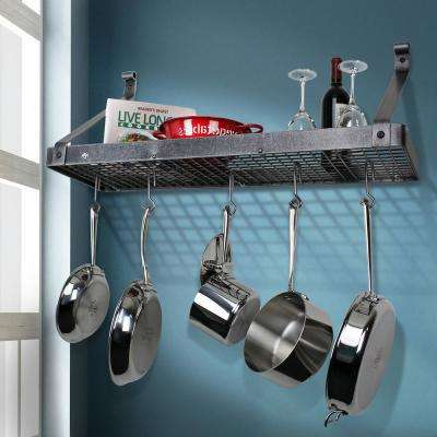 Handcrafted 30 in. Hammered Steel Gourmet Deep Bookshelf Wall Rack with 12-Hooks