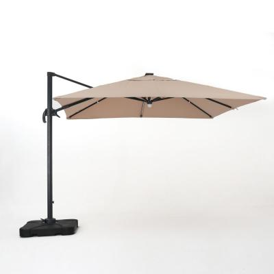 Savanna 9.8 ft. Cantilever Solar Tilt Patio Umbrella in Sand