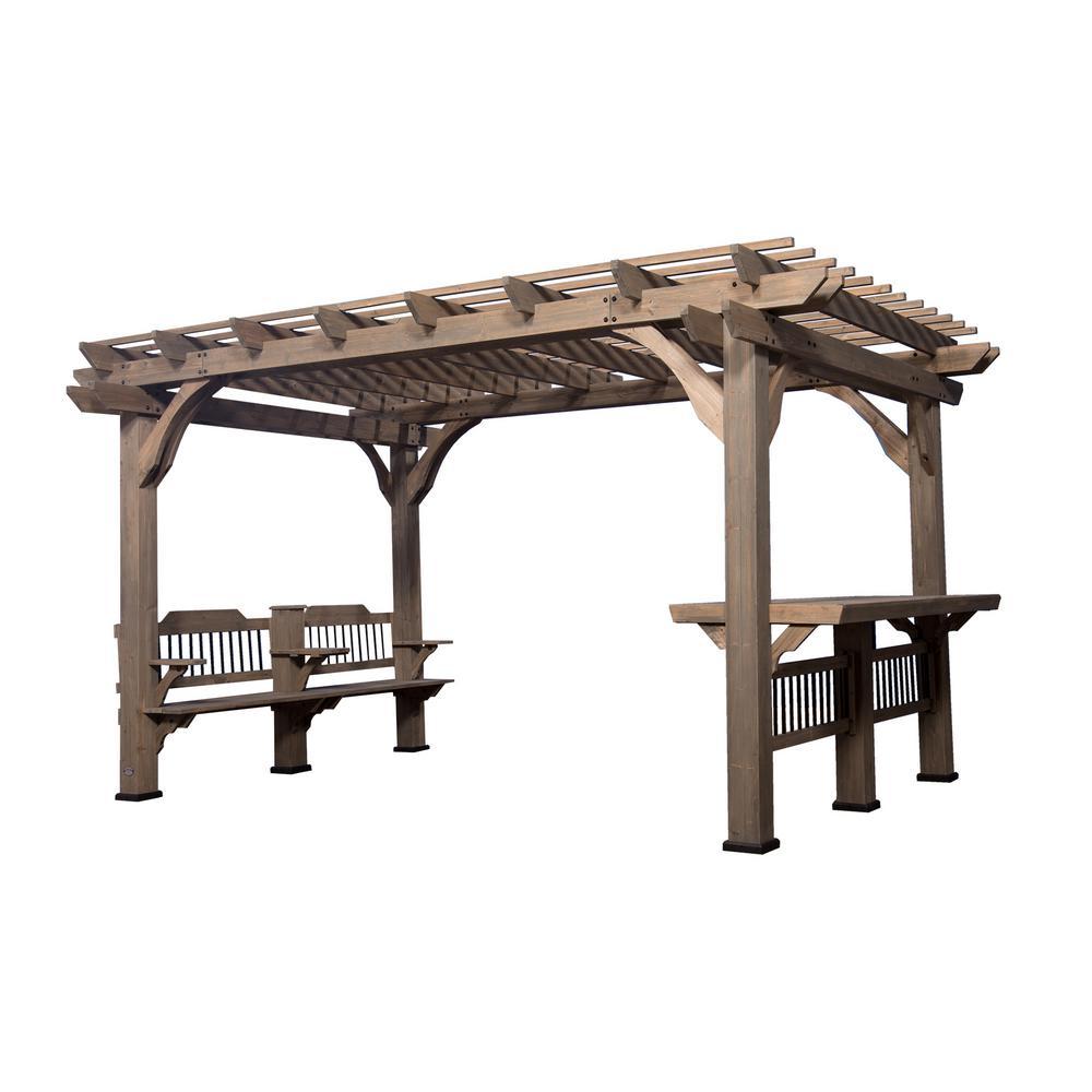 Oasis 14 ft. x 10 ft. Barnwood Cedar Wooden Pergola - Pergolas - Sheds, Garages & Outdoor Storage - The Home Depot