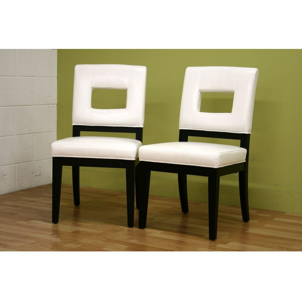 Baxton studio faustino white faux leather upholstered for White leather dining chairs