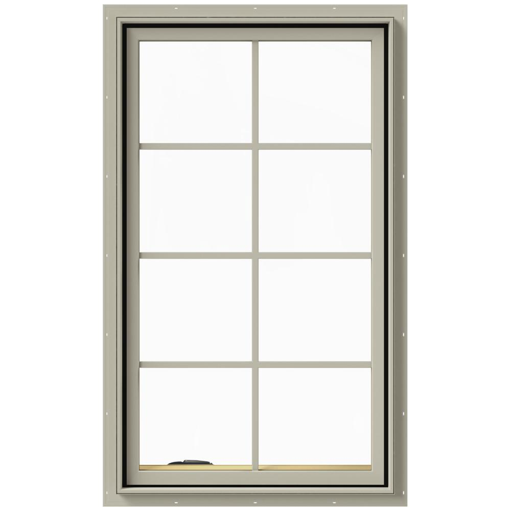 JELD-WEN 28 in. x 48 in. W-2500 Series Desert Sand Painted Clad Wood Left-Handed Casement Window with Colonial Grids/Grilles