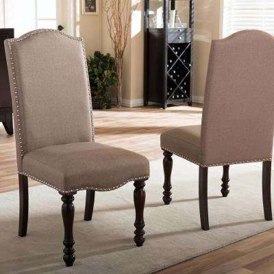 Zachary Beige Fabric Upholstered Dining Chairs (Set of 2)