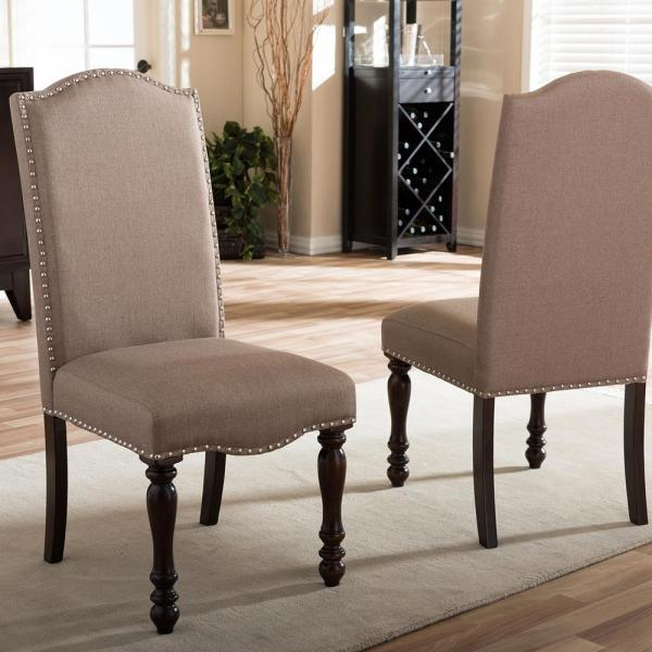 Baxton Studio Zachary Beige Fabric Upholstered Dining Chairs (Set of 2)