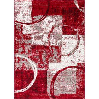 Ash Spheres Watercolor Red 8 ft. x 10 ft. Modern Area Rug