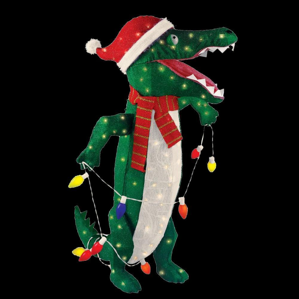 Home accents holiday 36 in pre lit tinsel alligator ty049 for Led outdoor decorations