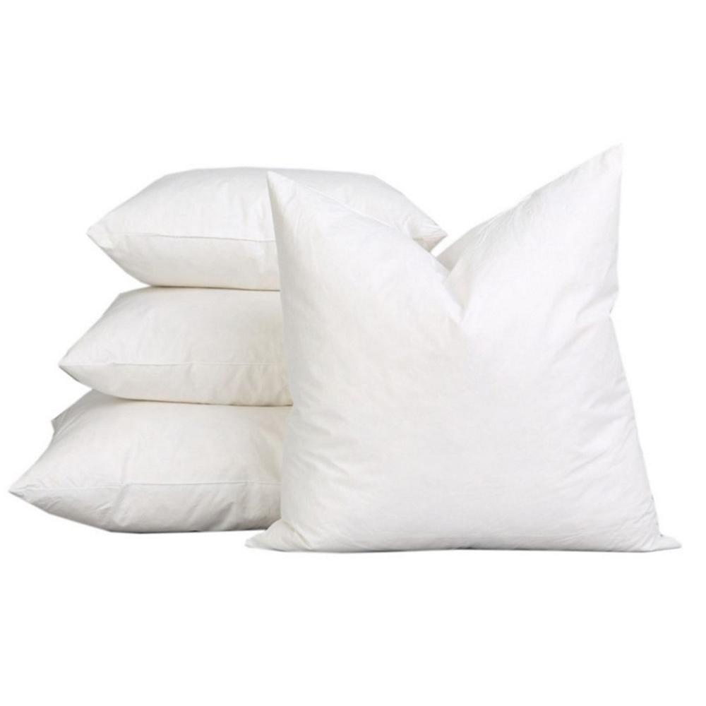"A1HOMECOLLECTIONS A1 HOME COLLECTIONS White Solid Down Alternative 22 in. x 22 in. Throw Pillow (Set of 2), White-22""X22"""