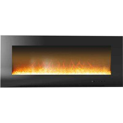 Fireside 56 in. Wall-Mount Electric Fireplace in Black with Crystal Rock Display