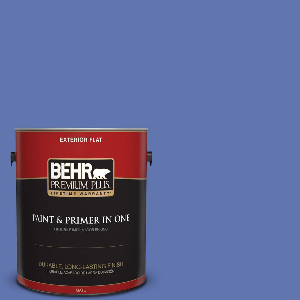 BEHR Premium Plus 1-gal. #600B-6 Sudden Sapphire Flat Exterior Paint