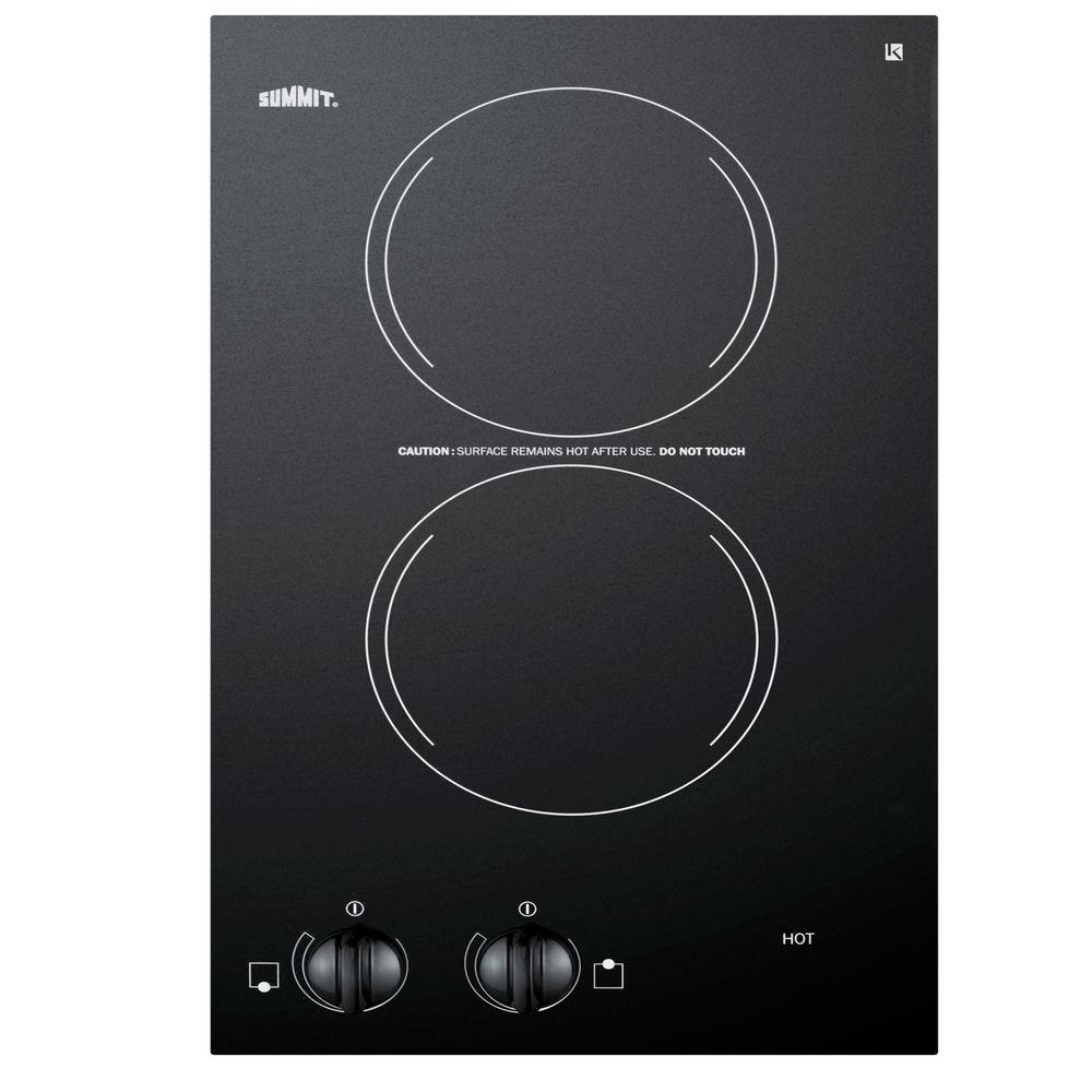 Summit Appliance 12 in. Radiant Electric Cooktop in Black with 2 Elements