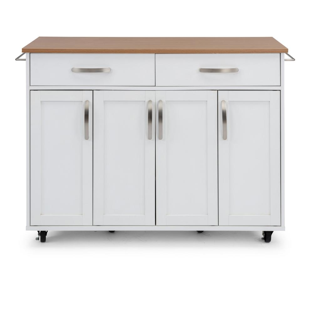 HomeStyles Home Styles Storage Plus White Kitchen Cart