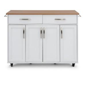 HomeDepot.com deals on Home Styles Storage Plus White Kitchen Cart