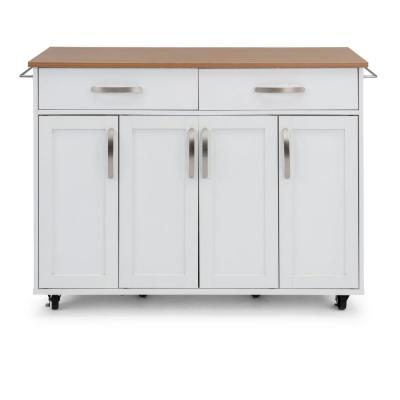 Storage Plus White Kitchen Cart